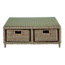 2 drawer garden coffee table in tempered glass and resin wicker maisons du monde
