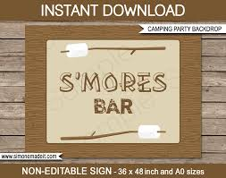 printable camping party s mores bar backdrop diy template party decorations 36x48