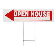 6 in x 24 in plastic open house sign
