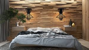 Interior Design For Bedroom Walls Modern Design Wooden Wall In The Interior Of The Bedroom Creating An Eco Style