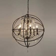decoration amazing crystal orb chandelier iron round black chandeliers with and metal lamp shades