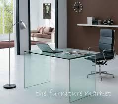 GeoGlass Modern Designer Small Clear Bent Glass Desk  Office Glass Desk Office