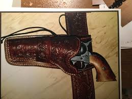 custom made high grade leather holster that is hand sewn to order fl hand stamped sass holster is shown firearm not included