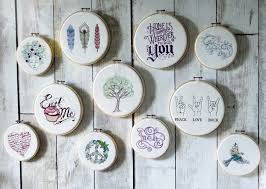 embroidery hoops feature wall