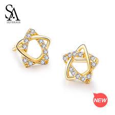 2019 <b>SA SILVERAGE 9K Yellow</b> Gold Star Stud Earrings For ...