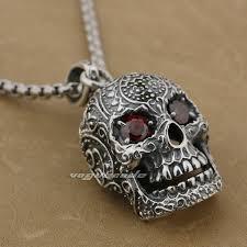 huge heavy ru eyes skull 925 sterling silver mens biker pendant mens skull necklace