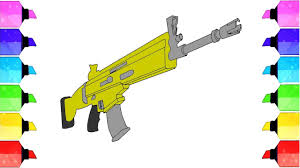 Fortnite Rifle Scar Coloring Page How To Draw The Scar Rifle Youtube