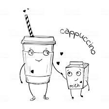カプチーノミルクのかわいいキャラクターのベクトル スケッチ イラスト