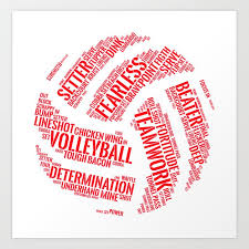 Volleyball Word Red Volleyball Wordcloud Gift Art Print By Shirtschleuder