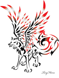 tribal wolf with wings drawing. Beautiful Wings Winged Tribal Wolf By ToryFlores And With Wings Drawing I