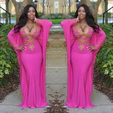 2015 Hot Pink Moroccan Kaftan Turkish Dresses With Long Sleeves