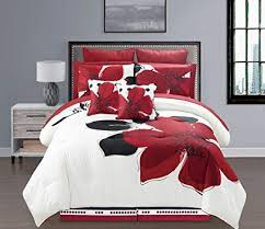 10 Pieces MARISOL Red Black White Comforter Bed-in-a-bag Set King Size Bedding+Sheets+Accent Pillows