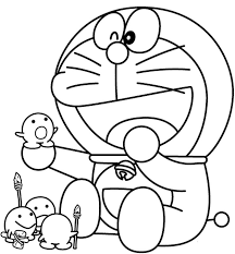 doraemon clipart colouring page