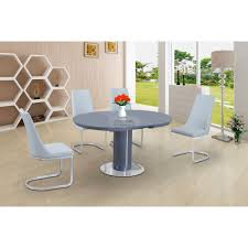 roberto grey high gloss and glass round extending dining table 110 150cm