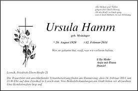 Ursula Hamm - Todesanzeigen - Bergsträßer Anzeiger - Trauerportal ...
