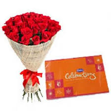 red roses bouquet with cadbury celebrations birthday hyderabad
