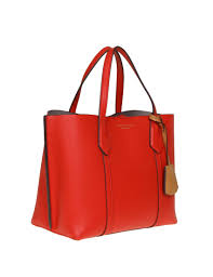 tory burch ping perry small triple compartment leather tote color red