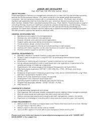 Sample Resume Of Net Developer Great Sample Resume For Asp Net Developer Fresher Images 3