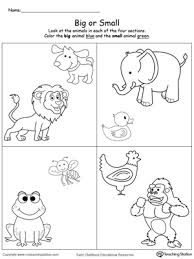 Comparing Sizes Big and Small Animals early childhood math worksheets myteachingstation com on complete subject worksheets