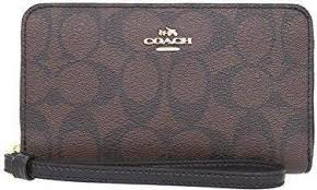 COACH F57468 IMAA8 Womens Coated Canvas Phone Wallet Brown Black