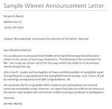 Blank Winner Announcement Letter Archives Sample Letter