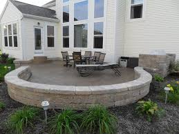 stamped concrete patio picture with paver seating wall in blacklick ohio plain t18 patio