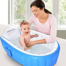 inflatable baby bathtub mixigoo infant mini swimming pool foldable non slip travel air bath basin with soft cushion central seat for new born toddler kids