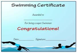 Free Swimming Certificate Templates Condo Financials Com