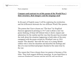 the hero vs the deserter gcse english marked by teachers com document image preview