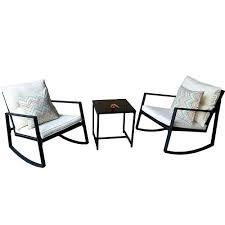 3 piece patio set black 3 piece patio set w 2 rocking chairs white cushions table