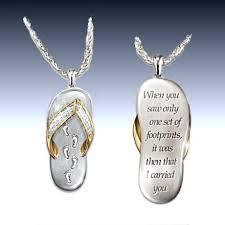 my dear granddaughter s footprints in the sand crystal pendant necklace