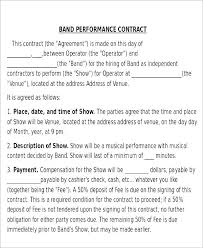 Artist Performance Contract Template Band Uk Agreement Free