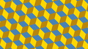 Wallpaper Yellow Blue 3d Cubes Brown B8860b 4682b4 Ffd700 225