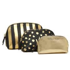 ヴィクトリアズシークレット ポーチ victorias secret 343831 3hm beauty bag trio 化粧ポーチ black gold