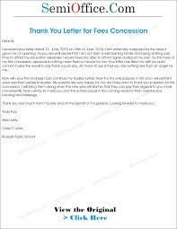 Thanks Letter For Fee Concessiong Principal Fees Concession Home