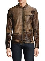 john varvatos zip up leather jacket walnut men apparel coats jackets shearling