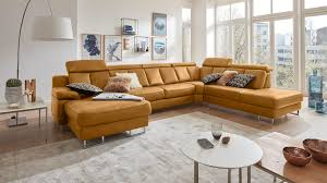 Interliving Sofa Serie 4050 Wohnlandschaft Kurkumafarbenes Longlife Leder Cloudy Kurkuma Chromfüße Stellfläche Ca