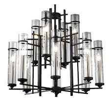 post modern molten iron and clear glass chandelier 10420