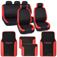 car seat covers red and black