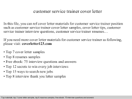 Customer Service Cover Letter Customer Service Trainer Cover Letter