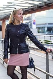 elegant women s short leather jacket with on closure