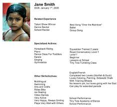 Resume Template For Kids Child Actor Resume Samples Child Acting