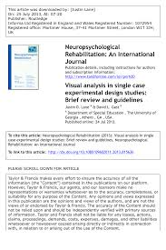 visual analysis in single case experimental design studies brief  visual analysis in single case experimental design studies brief review and guidelines pdf available