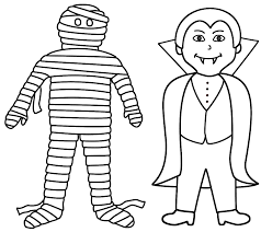 Small Picture Mummy with vampire Coloring Page Halloween