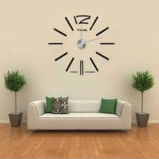frameless wall clock kit 3d mirror decoration black big large