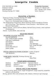 Theatre Resume Inspiration Technical Theater Resume Template Theatre Templates Student Actor