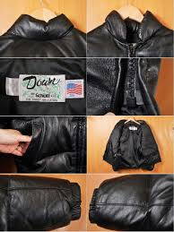 made in usa schott shot leather down jacket black lamb leather sheep leather 36 men s s equivalency