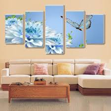 >framed 5 piece fashion blue butterfly flower canvas wall art sets  framed 5 piece fashion blue butterfly flower canvas wall art sets it make your day