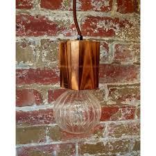 glass and wood pendant light