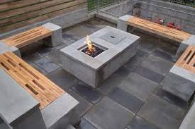 concrete fire pit with bench and wood fence gas modern diy square concrete fire pits